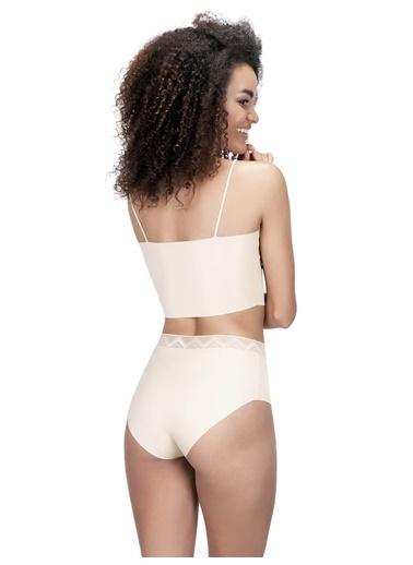 Cottonhill Desenli Lastikli Yüksek Bel Lazer Kesim Kadın Bikini Külot Ten